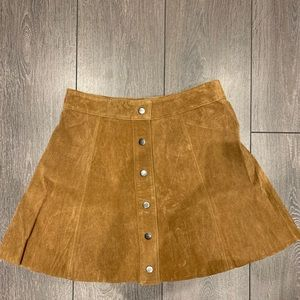Brown Suede Botton-Front A-Line Skirt